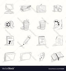 Halloween Desktop Icons Sketch Style Desktop Icons Set Royalty Free Vector Image