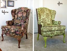 How To Reupholster A Wingback Armchair Mrs Mrs Wingback Reupholstered
