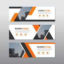 Layout Banner Template | orange black abstract corporate business banner template horizontal