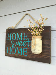 Rustic Outdoor Teal Home Sweet Home Wood Signs Front Door Sign - Custom signs for home decor