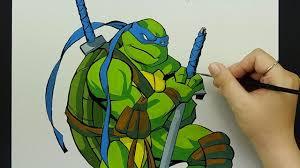 speed drawing leonardo teenage mutant ninja turtle watercolor