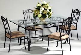 Glass Top Dining Tables Rectangular Chair French Country Oak And Wrought Iron Dining Table With Five