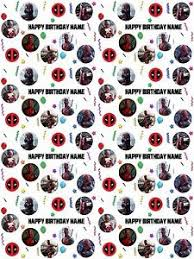 deadpool wrapping paper deadpool personalised birthday gift wrapping paper add name s