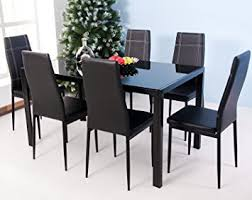 Glass Topped Dining Table And Chairs Merax 7 Glass Top Dining Set Table Chair Sets