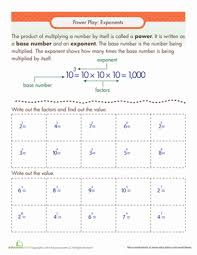 exponents practice worksheet education com