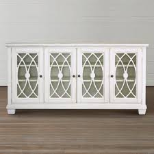antique media console with 4 glass door in whitewash finish