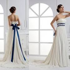 white wedding dress with royal blue sash find more wedding dresses information about strapless wedding