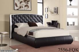 full size bed frame w tufted leather headboard u0026 footboard 7556