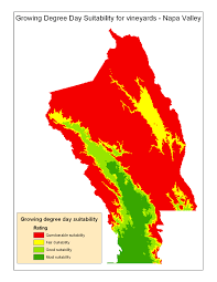 Map Of Napa Valley Degree Days Suitability Data Atlas Of Wine Grape Growing