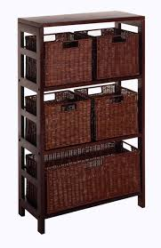Narrow Bookcase With Drawers by Amazon Com Winsome Wood Leo Wood 4 Tier Shelf With 5 Rattan