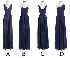 navy blue mismatched long bridesmai navy blue bridesmaids long