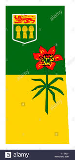 map of province national flag of saskatchewan on map of province in canada