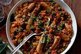 braised lentils u0026 sausages