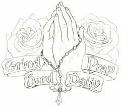 awesome rosary cross in praying hand with banner and roses tattoo