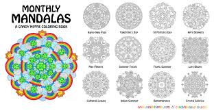 monthly mandalas printable coloring book candy hippie deviantart