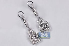 dimond drop womens diamond drop earrings 18k white gold 1 65 ct