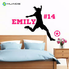 popular custom wall decals buy cheap custom wall decals lots from personalized soccer player wall decal custom name number girls female wall decor vinyl wall sticker