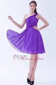 one shoulder ruched bright blue violet short prom dress
