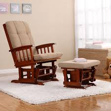 furniture pretty glider rocker and ottoman and rug and grey wall