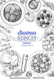 business lunch top view frame food stock vector 645997939