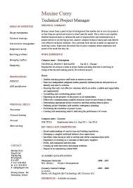 Project Manager Resume Template Technical Project Manager Resume Example Job Description Skill