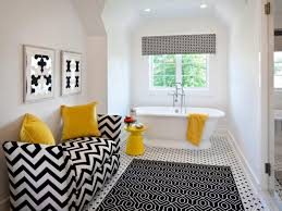attractive yellow accents at black white bathroom idea appled at