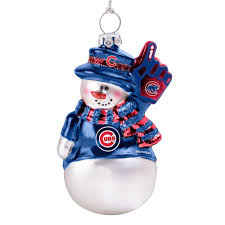 chicago cubs glitter snowman ornament by boelter at
