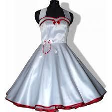 brautkleid rot wei 50er jahre brautkleid zum petticoat hochzeit weiß band rot 36