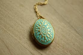 small turquoise pendant necklace images Small blue locket necklace ornate turquoise locket long oval jpg