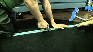 how to cut rubber flooring youtube