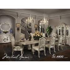 monte carlo ii dining room set silver pearl aico furniture