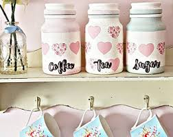 pink kitchen canisters coffee tea sugar etsy