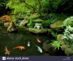 home decor waterfalls small japanese garden koi in pond with anese lantern and
