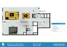 burooj views tower floor plans 1 bedroom type c