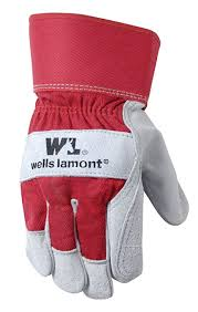 Split Cowhide Wells Lamont Leather Work Gloves With Safety Cuff Double Palm