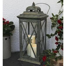 lanterne lanterne extérieure avec bougie led en métal vieilli gris