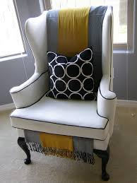 Black Contrast Piping On White Wing Back Chair Grey U0026 Yellow