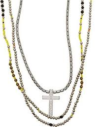 beaded cross necklace images Armani exchange aix mens beaded cross necklace clothing jpg