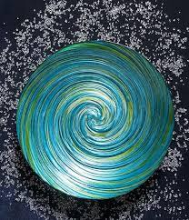 coastal swirl decorative glass bowl