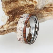 wood mens wedding bands titanium ring wooden deer antler mens titanium ironwood wedding
