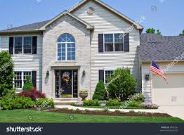 American House Flag Beautiful Neat Suburban Home Ohio Flying Stock Photo 3405230