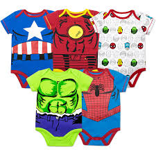 amazon com marvel baby boys u0027 5 pack bodysuits the hulk