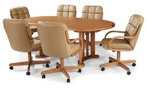 Kitchen Table With Caster Chairs Excellent Dining Room Chairs With Arms And Casters 14 About