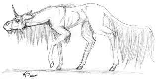 creepy unicorn by modesty on deviantart