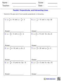 parallel intersecting and perpendicular lines worksheets test of