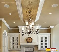 Ceiling For Living Room by Chandelier And False Ceiling Design For Kitchen Gharexpert