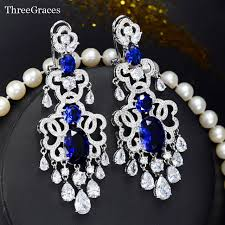 bridal chandelier earrings threegraces brand vintage royal blue bridal jewelry luxury