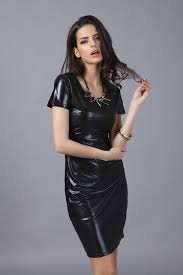 2015 plus size women clothing fino dress faux leather party