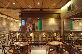 Wooden Furniture Cafe Interior With Wooden Furniture Lighting Equipment And