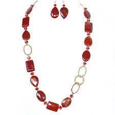 long red necklace images Reese long red necklace set earth and moon design jpg